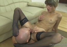 Mistress Gina's mouth mount dildo facesitting video, wearing only stockings